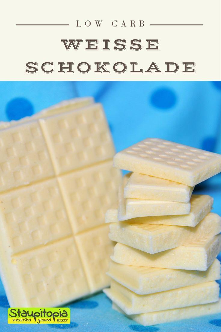 Weiße Schokolade selber machen: 5 Minuten - 3 Zutaten - 0 Zucker! Ich verrate euch, wie ihr diese leckere weiße Low Carb Schokolade OHNE Zucker selber machen könnt!