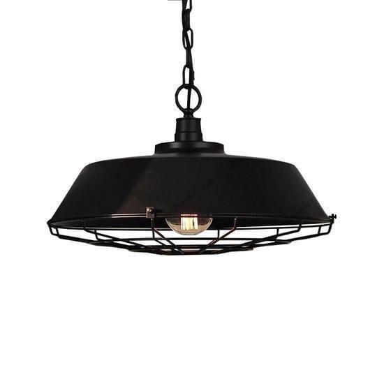 Vintage Industriële Hanglamp Zwart Cage Design
