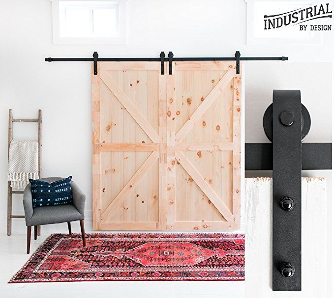 10 Foot Heavy Duty Double Sliding Barn Door Hardware Kit Black Includes Easy Step By Step Installatio With Images Double Sliding Barn Doors Barn Door Designs Barn Door