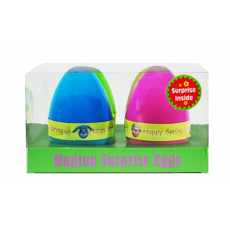 Each plastic egg features a plush animal inside. Perfect for building multiple baskets.