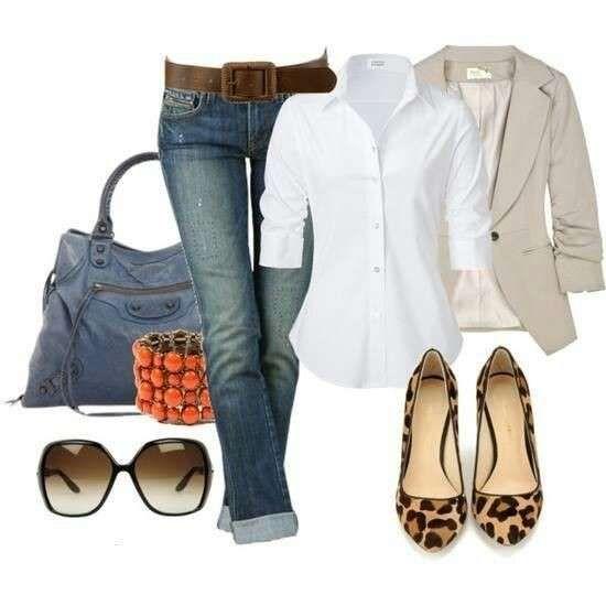 buy online 54699 462cc outfit ideas for woman - CAMICIA, BLAZER E BALLERINE ...