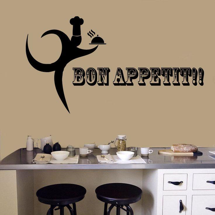 Wall Decals Bon Appetit Chef Cook Vinyl Decal Sticker Kitchen Cafe Decor  KG805
