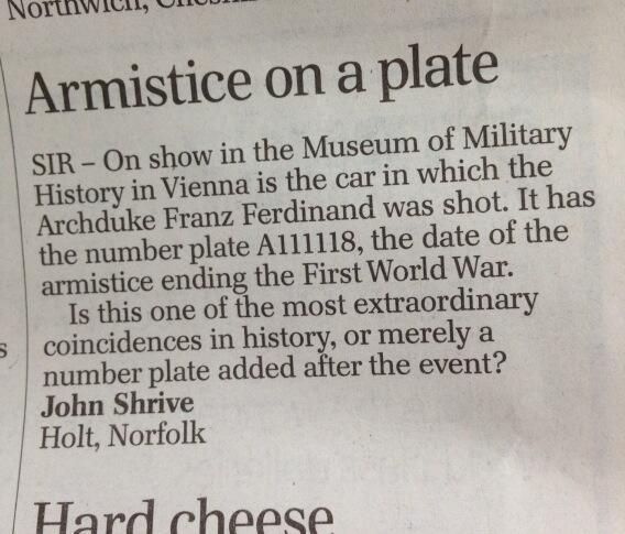 Interesting letter in Telegraph about Archduke Franz Ferdinand. Anyone know the answer? pic.twitter.com/V33o3j0vrn