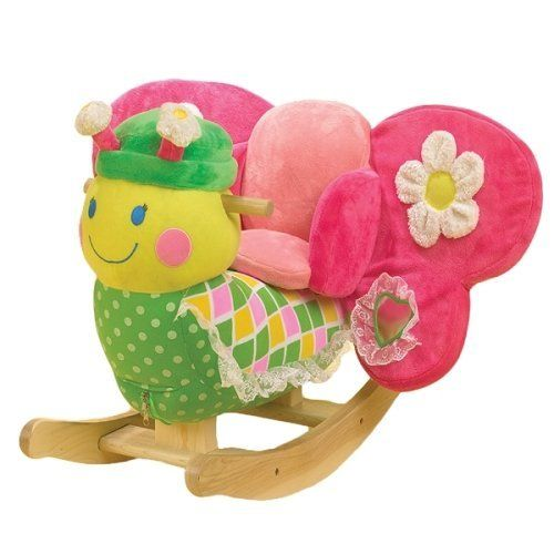 Bonita Butterfly Rocker by Rock A Bye. $99.99. Flit, flutter and fly on this whimsical rocking butterfly! Beautifully colored and full of hidden activities, musical Bonita features endless fun. Complete with a soft padded seat, natural wooden base, a mirror on her wing and easy grip wooden handles, Bonita is sure to be baby's favorite! This wonderful, heirloom quality rocker now comes with an educational component. Located on the back of her head, baby will find 4 shaped buttons...