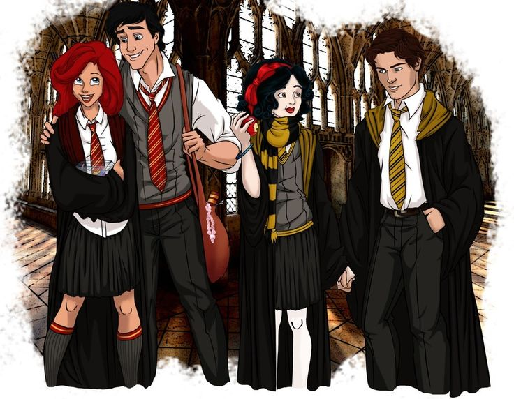 And Ariel, Prince Eric, Snow White, and Prince Florian. | Reimagined As Hogwarts Students