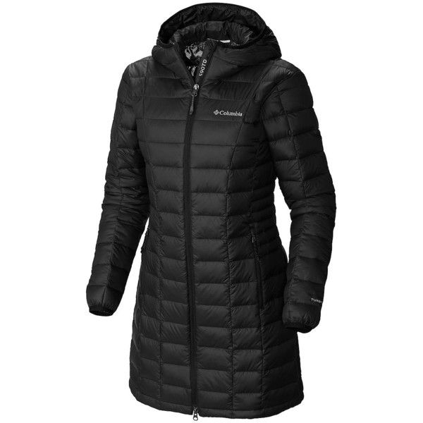Columbia Women's Voodoo Puffer Coat ($180) ❤ liked on Polyvore featuring outerwear, coats, black, puffer coat, long sleeve coat, hooded puffer coat, hooded coat and columbia coats