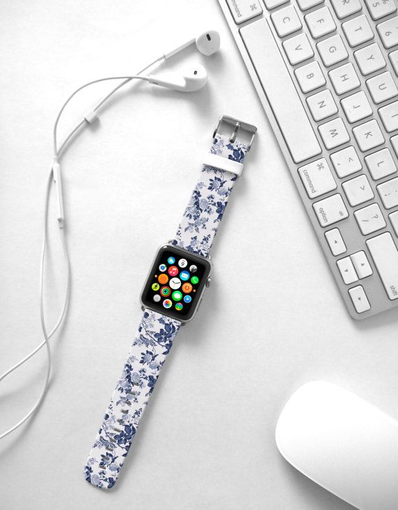 Apple Watch Band 38mm women blue floral flowers by HiveWorkshop