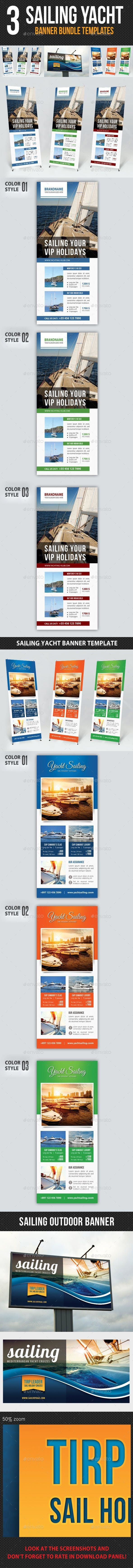 3 in 1 Sailing Yacht Banner Bundle 02 #PrintTemplates #template #PrintDesign #ma...