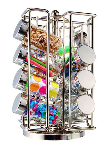 Such a great idea... Spice Rack for small items that usually clutter desk drawers or random desk top containers.