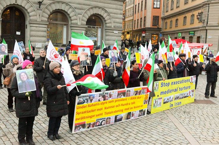 November 8, 2014-Iranians in Stockholm, Sweden, protest the execution of Reyhane Jabbari, acid attacks on Iranian women, and the medical siege on Camp Liberty, Iraq, where the Iranian dissidents reside. The protesters paid respect to Ms. Farideh Vanaii,  the 22nd and latest victim of the medical siege, who was denied treatment for cancer until the terminal stage.