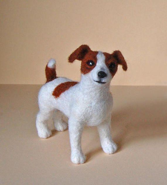 Needle Felted Jack Russell Terrier Miniature Dog . Needle