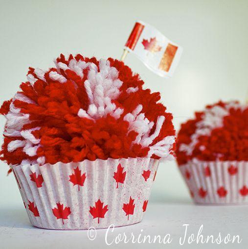 Pom Pom Cupcake Craft: Canada Day Craft #crafts #yarn #CanadaDay
