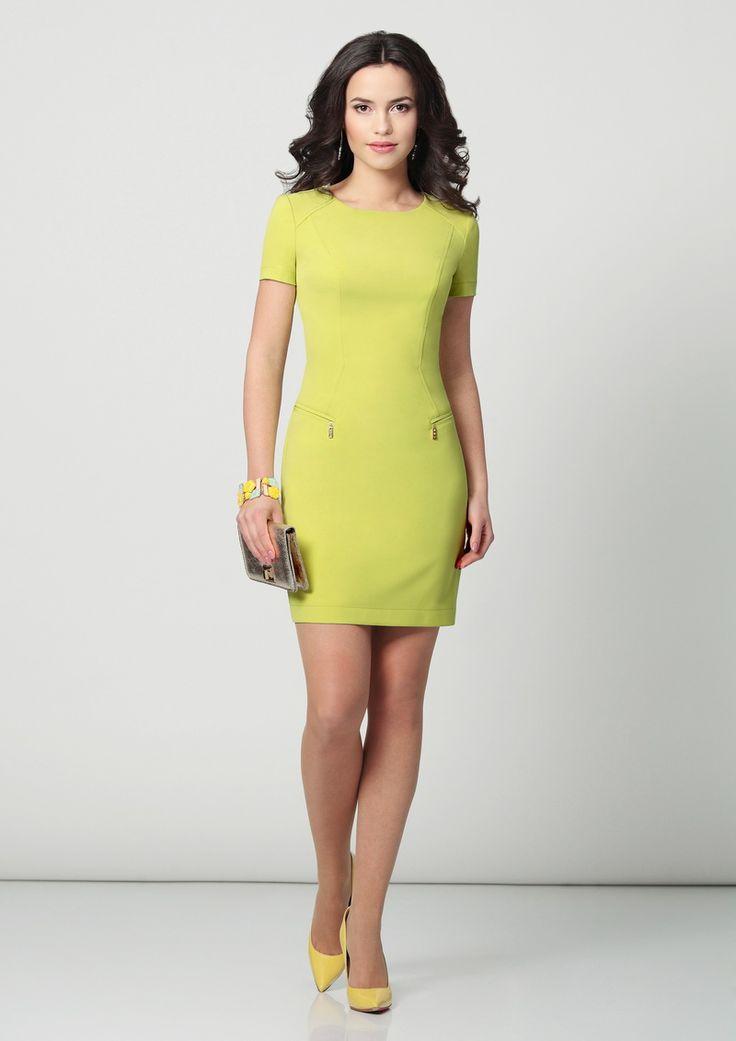 Желтое платье из трикотажа на лето фото