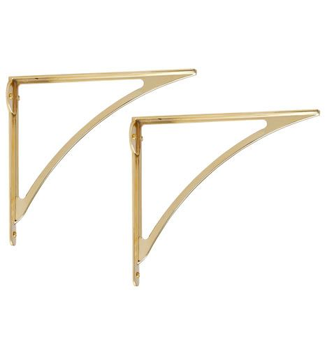 Large Arched Shelf Bracket Solid Brass Unlacquered Brass