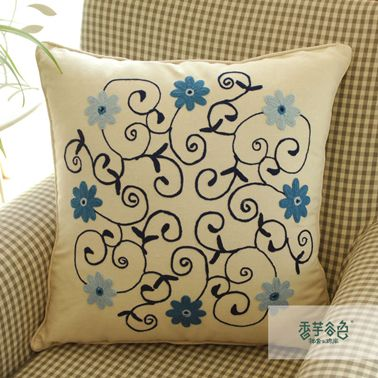 Blue Garden Flowers Embroidery Pillow