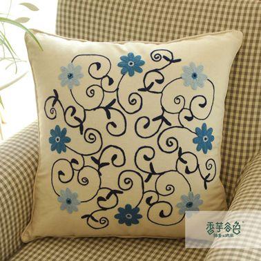 Blue Garden Flowers Embroidery Pillow
