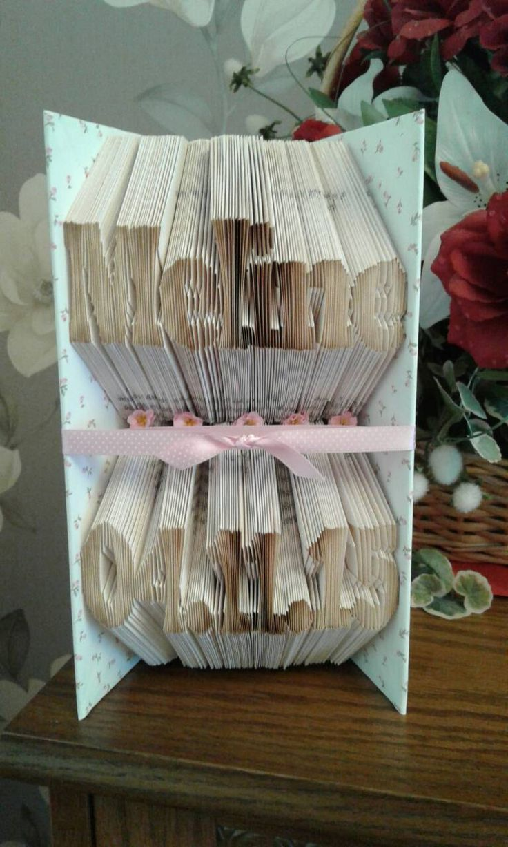 Personalised Birthday Present, Name Sign, Made to Order Name and Date of Birth Book Sculpture Ideal Gift for New Baby by CreationsByMEx on Etsy