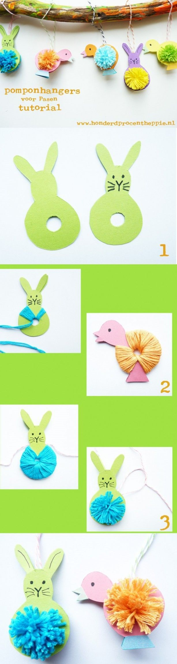 Great #craft idea for #Easter - Pom Pom Bunny/Chick