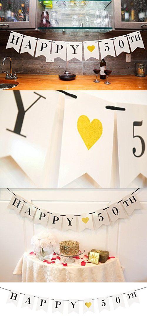 Happy 50th Birthday Banner - 50th Wedding Anniversary Decorations - Milestone Birthday Party Decorations
