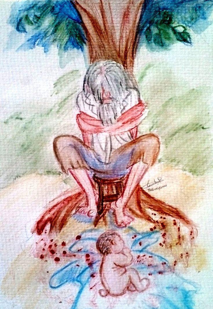 José Arcadio Buendía  amarrado  al árbol  de castaño  y su tataranieto. Cierran el círculo de Cien años de soledad por Gabriel García Márquez the_beginning_and_the_end_by_greys_giovana-datbq00.jpg (743×1076)
