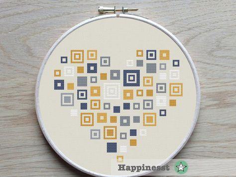 geometric modern cross stitch pattern heart, squares, blue yellow grey, PDF pattern ** instant download**