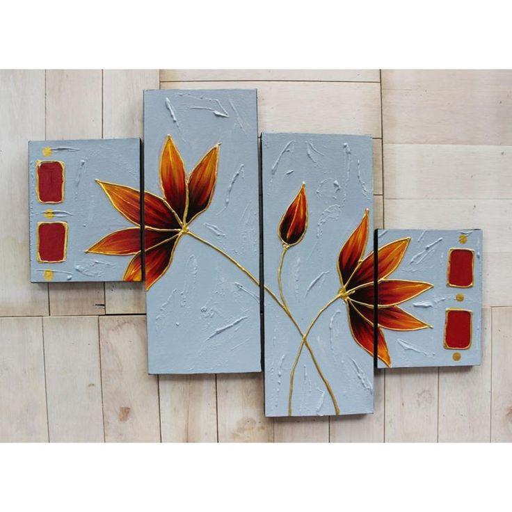 Lukisan Set Bunga Dekoratif Orange Tua