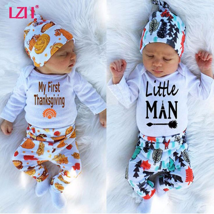 "2017 Spring Baby Boy Clothes Set ""My First Thanksgiving"" Romper+Trousers+Hat 3pcs Outfit Suit Newborn Toddler Boys Clothing Set"