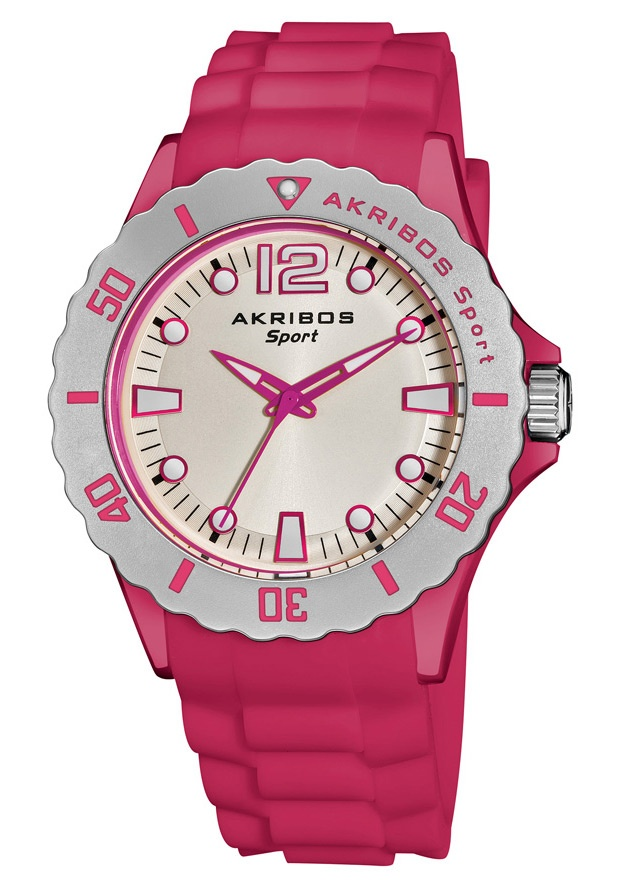 Price:$69.99 #watches Akribos XXIV AK536PK, This Akribos XXIV stylish and trend-setting watch features a glow in the dark dial. The silicon strap secures with a tang buckle clasp. This sporty watch makes an ideal gift for men or women.