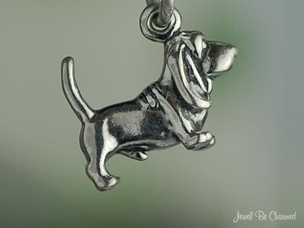 Basset Hound Charm Miniature Sterling Silver Dog by jewelbecharmed