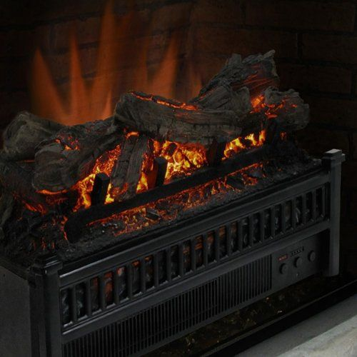 Pleasant Hearth Electric Fireplace Logs with LED Glowing Ember Bed - Black - Electric Inserts at Hayneedle