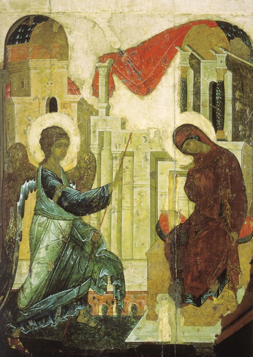 Annunciation, fresco by Andrei Rublev 1405. Cathedral of the Annunciation, Moscow.