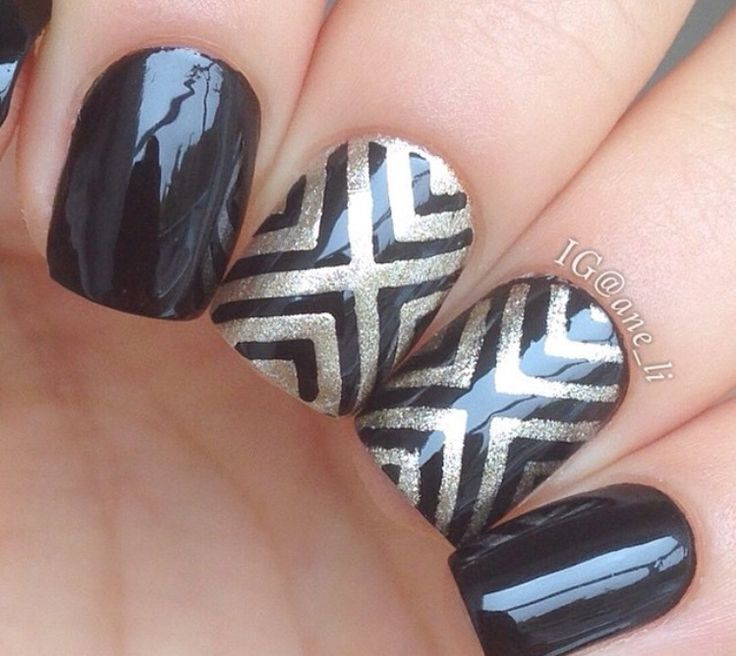 One of our favorite manis ever by @ane_li.  Right Angle Nail Stencils for a perfect X Pattern design found at: snailvinyls.com