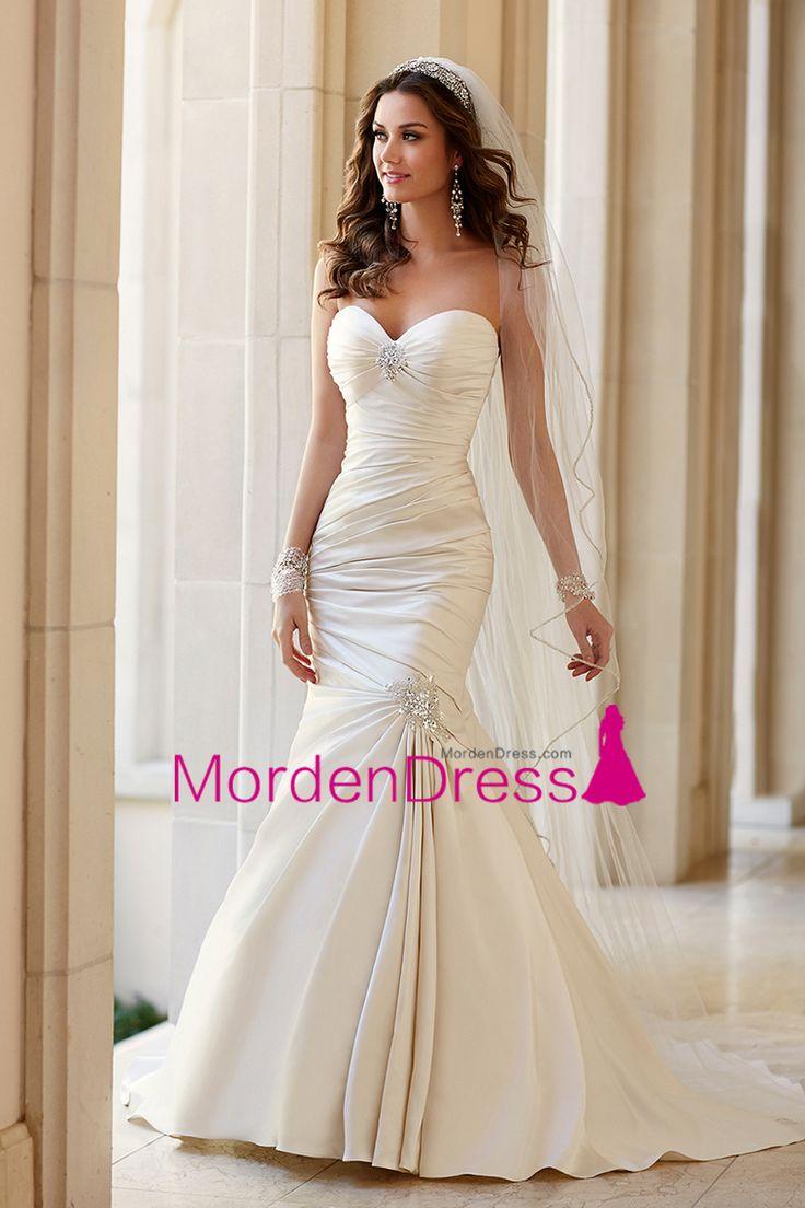 2016 Sweetheart Mermaid Wedding Dresses Satin With Beads And Ruffles