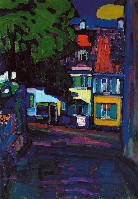 "Wassily Kandinsky, ""Murnau, Houses on the Obermarkt"" (1908)"