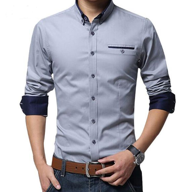 New Arrival Men Fashion Shirts 2017 Spring Men's Long Sleeve Business Shirt Brand Slim Fit Solid Dress Shirt Male Clothes MCL010