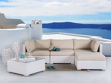 Sectional Outdoor Sofa Set   Modern White Wicker Furniture   SANO