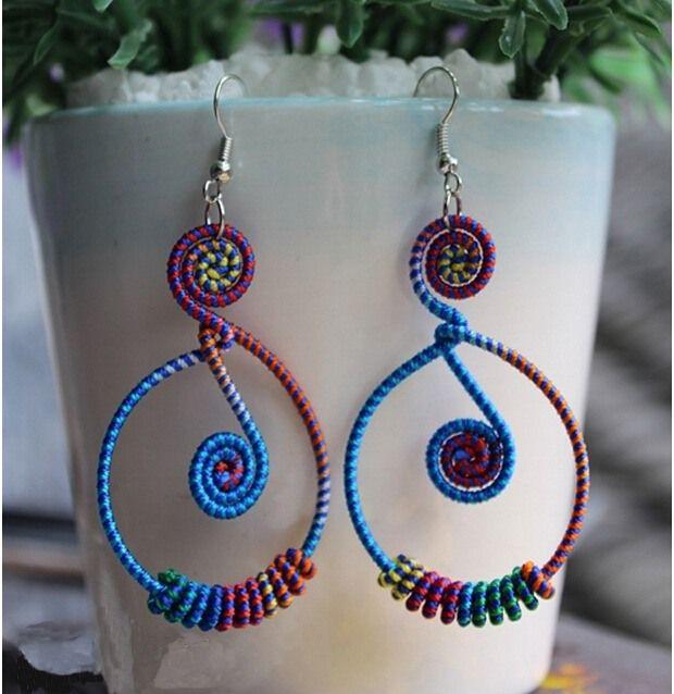 thai nepal tribal handmade color yarn wire crochet braided dangle drop earring oriental exotic knit ethnic boho hmong miao india