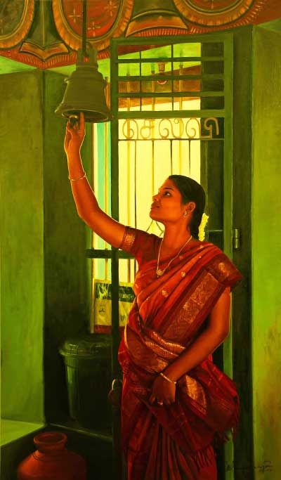 Tamil girl ringing temple bell - Painting by S. Elayaraja