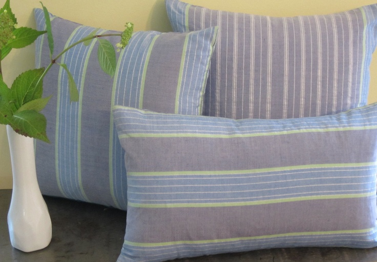 Handwoven fabric from Malaysia.  Summer stripes pillow covers.