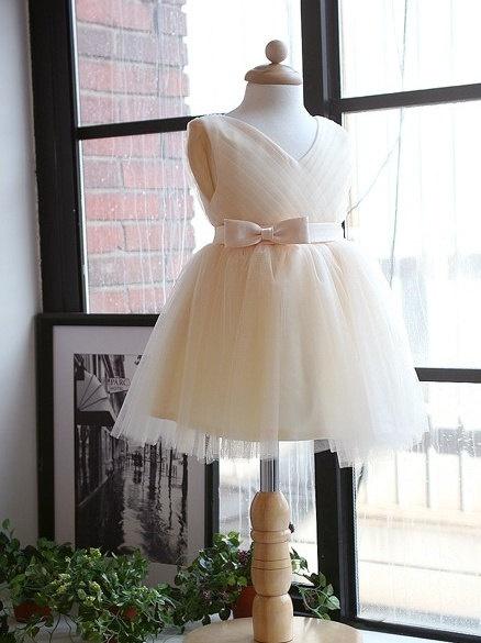 Flower girl dress Tulle V-neck Bridesmaid dress Ribbon point simple bridesmaid dress girl wedding gown wedding. $65.00, via Etsy.