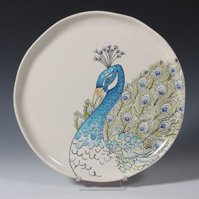 Watercolor_Pecock_Plate - Peacocks are the new hot trend.
