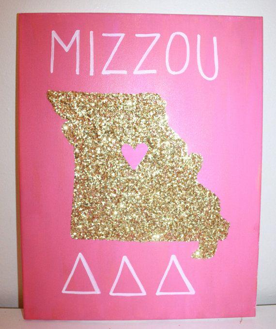 Sorority Canvas Glitter State Canvas - Missouri Tri Delta Sorority (Made to Order)