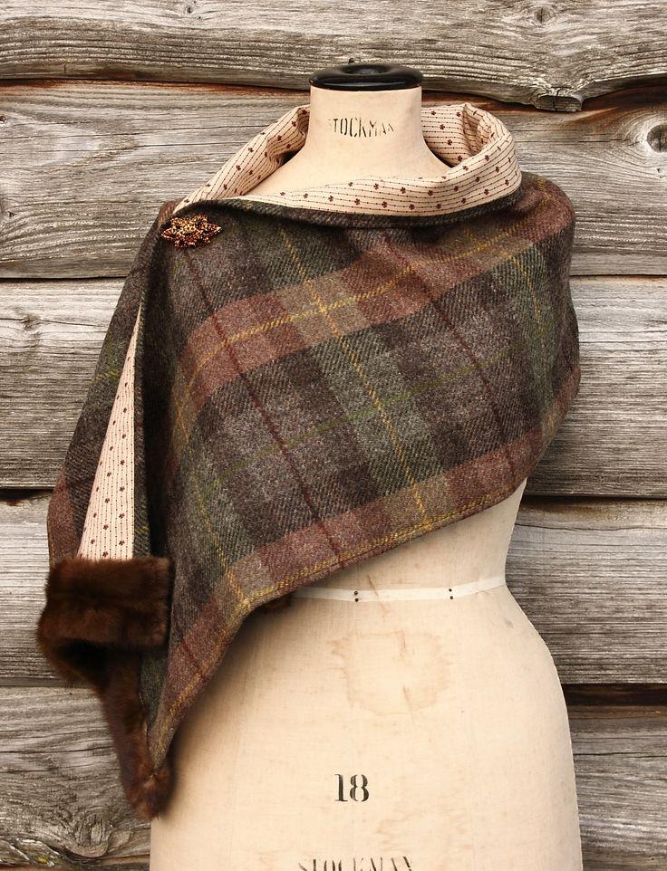 Harris Tweed & Vintage Fur Wrap