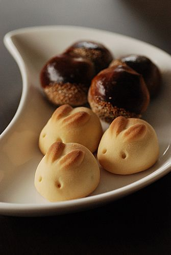 rabbit shahped manju. filled with white bean paste and yuzu.