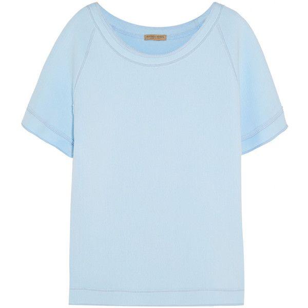 Bottega Veneta Cotton-blend jersey sweatshirt (550 BAM) ❤ liked on Polyvore featuring tops, hoodies, sweatshirts, bottega veneta, sweatshirt, cotton jersey, boatneck sweatshirt, dot top, blue polka dot top and slash neck top