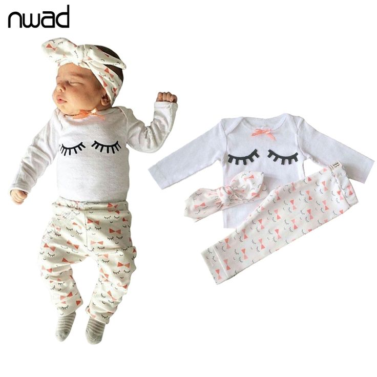 Cute Eyelash Baby Girl Clothes Set 2017 Cotton Clothing Suit For Newborn Baby Outfits Tops + Pant + Headband 3Pcs /sets FF223