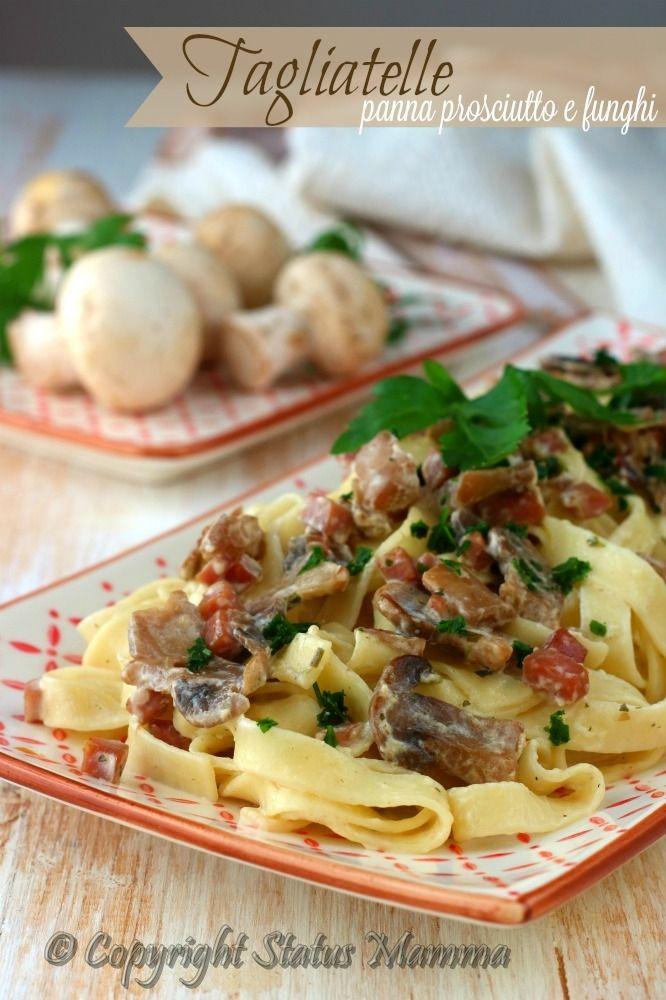 Tagliatelle panna prosciutto e funghi primo piatto facile veloce