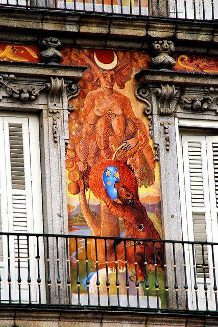 Plaza Mayor Casa de la Panadería pinturas de Carlos Franco   Madrid