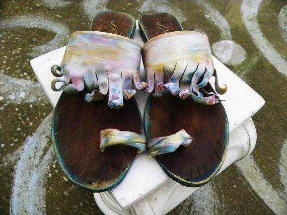Santorini 3 Hand-made Leather Sandals  by GreekSandalsMelahris