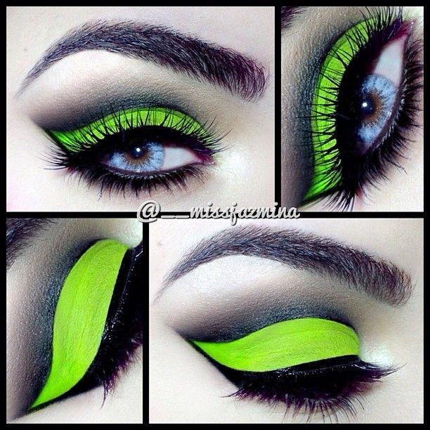 .@__missjazmina | Neon Cut Crease I used @Anastasiabeverlyhills #hypercolor Mega Watt Green on ...